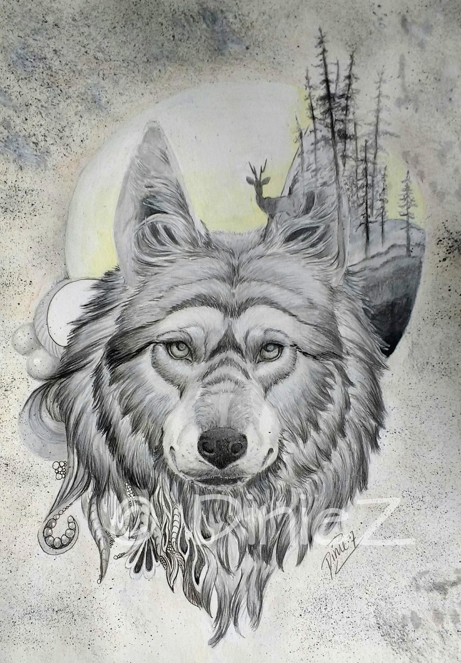 Fantasy wolf, mixed media